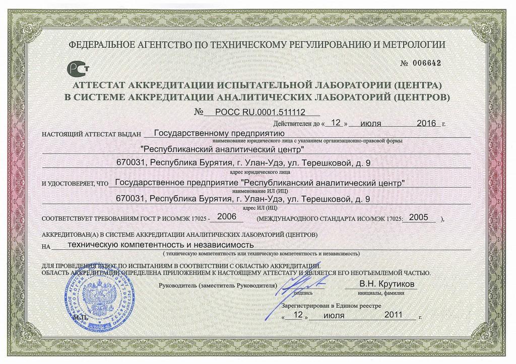 Аттестат ГП РАЦ до 2016